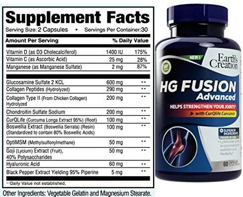 HG Fusion (Glucosamine Type 2 Collagen Chondrotin Hylauronic acid, 1) by Earth's Creation USA