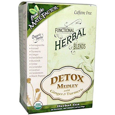 Mate Factor Functional Herbal Blends Detox Medley with Turmeric 20 Bag