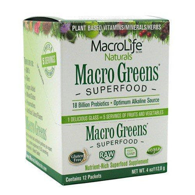 Macro Greens Superfood - 18 Billion Probiotic Cultures - Raw Green Superfood - Certified Organic Barley Grass Powder - 5+ Servings of Fruits & Vegetables - Contains 12 Single Serving Packets (FFP), [wellica]