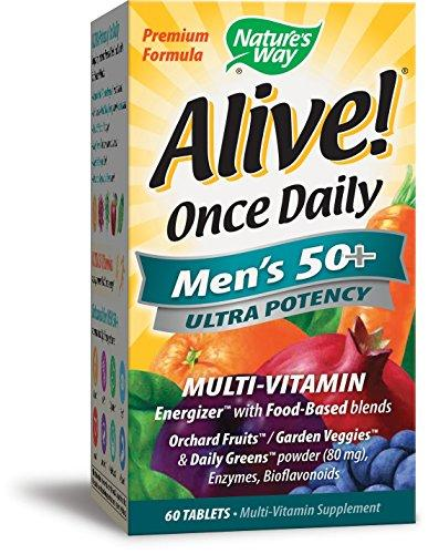 Nature's Way Alive Once Daily Men's 50 Plus Multi Ultra Potency Tablets, 60 Count, [wellica]