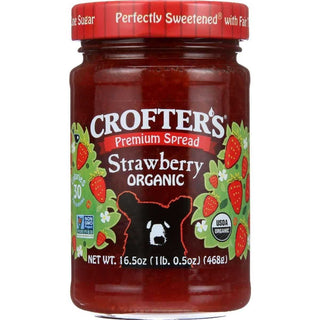 Crofters Fruit Spread - Organic - Premium - Strawberry - 16.5 oz - Pack of 6, [wellica]