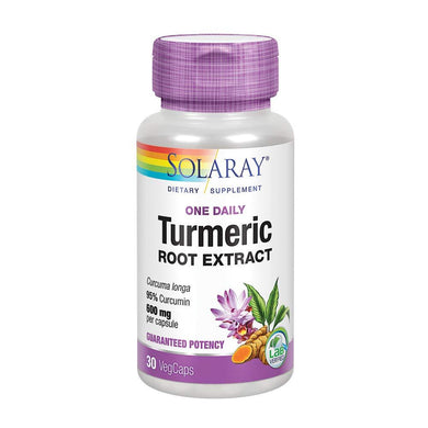 Solaray Guaranteed Potency Turmeric Root Extract One Daily 600 mg VCapsules, 30 Count