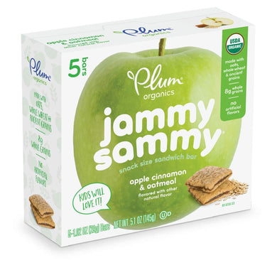 Plum Organics Jammy Sammy Sandwich Bar, Apple Cinnamon and Oatmeal, 5 Count, 5.15 oz, [wellica]