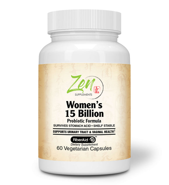 Zen Supplements - Womens 15 Billion Multi-Probiotic - Supports Urinary and Vaginal Health with Lactobacilli & Bifado Blended Strains Survives Stomach Acid, Shelf Stable 60-Vegcaps