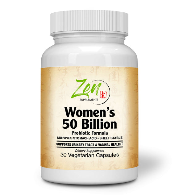 Zen Supplements - Womens 50 Billion Probiotic Formula - Supports Urinary and Vaginal Health with Lactobacilli & Bifado Blended Strains Survives Stomach Acid, Shelf Stable 30-Vegcaps