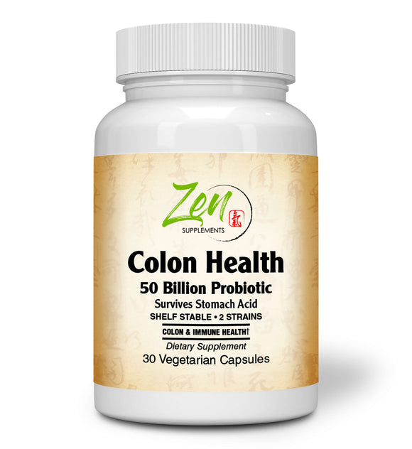 Zen Supplements - Colon Health 50 Billion CFU Probiotic with Acidophilus & Bifido Shelf Stable Strains for Gut & Digestive Health, in Delayed Release VegCaps 30-Vegcaps