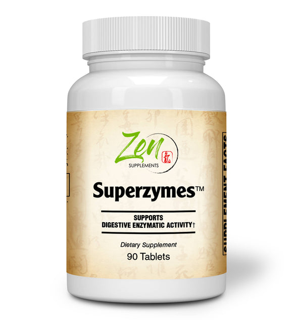 Zen Supplements - Superzymes Zen Supplements - Superzymes Multi-Enzyme Formula containing Pepsin, Bromelain, Papain, Pancreatin, Betaine HCL 90-Tabs