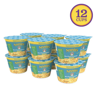 Annie's Gluten Free Rice Pasta & Cheddar Microwavable Macaroni & Cheese, 12 Cups, 2.01oz (Pack of 12), [wellica]
