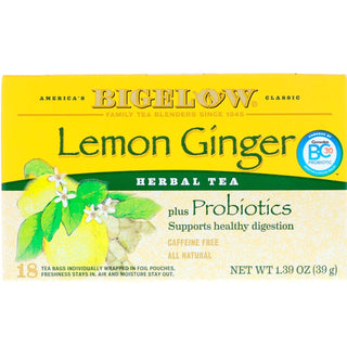 Bigelow Tea Herbal Tea Plus Probiotics Lemon Ginger -- 18 Tea Bags - 2 pc, [wellica]