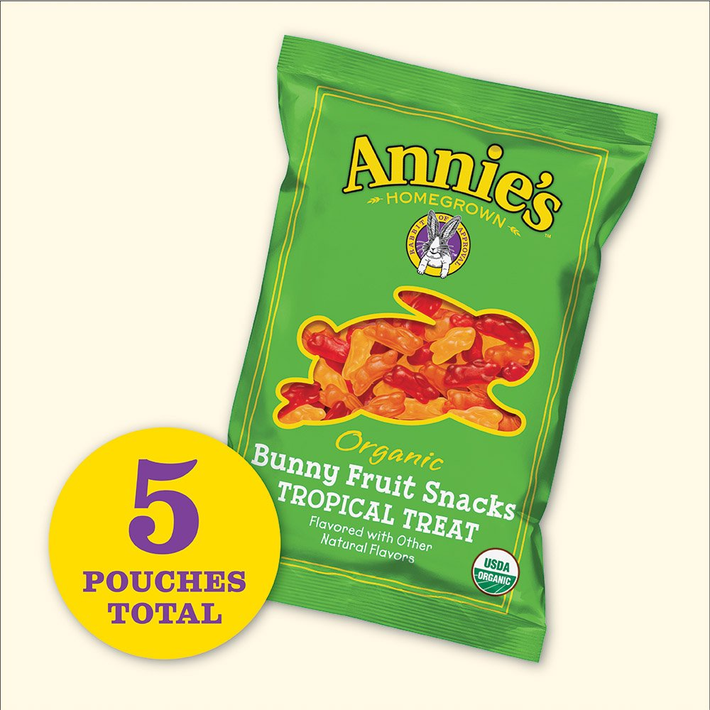 Annie's Gluten Free Organic Bunny Fruit Snacks, Tropical Treat, 5 ct