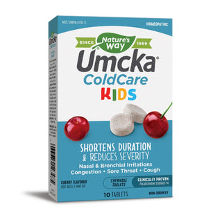 Nature's Way Umcka ColdCare Kids, for Cough | Congestion | Sore Throat, Clinically Proven, 10 Chewable Tablets, Cherry Flavor