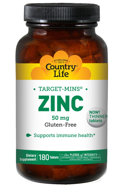 Country Life Target Mins Zinc, 50 mg - 180 Tablets, Immune Support, Gluten-Free