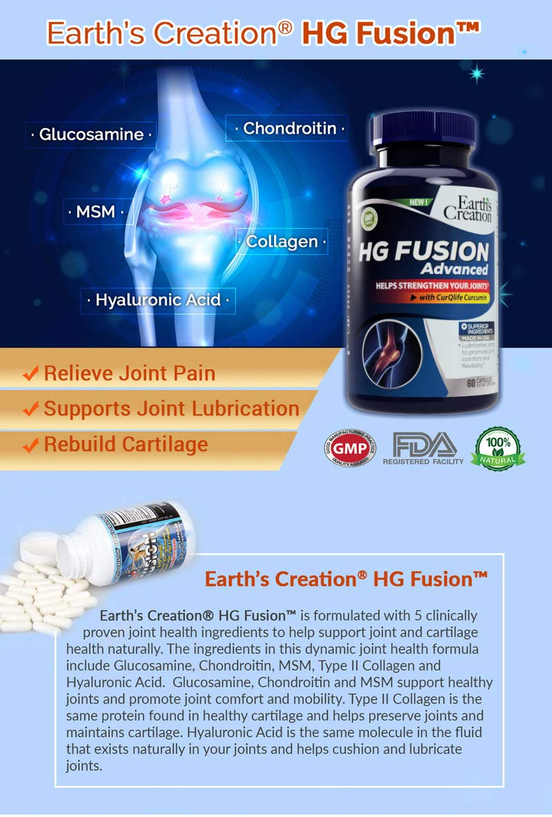 Earth's Creation HG Fusion Joint Health - Hyaluronic Acid, Glucosamine, Chondroitin, MSM, Type 2 Collagen - Synergetic Blend (120 Capsules)