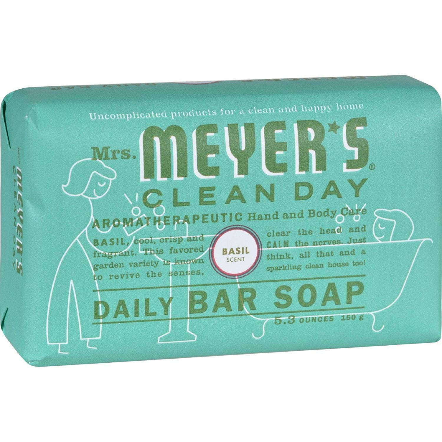 Mrs. Meyer's Clean Day Daily Bar Soap, 5.3 oz, (Basil, Pack of 1), [wellica]
