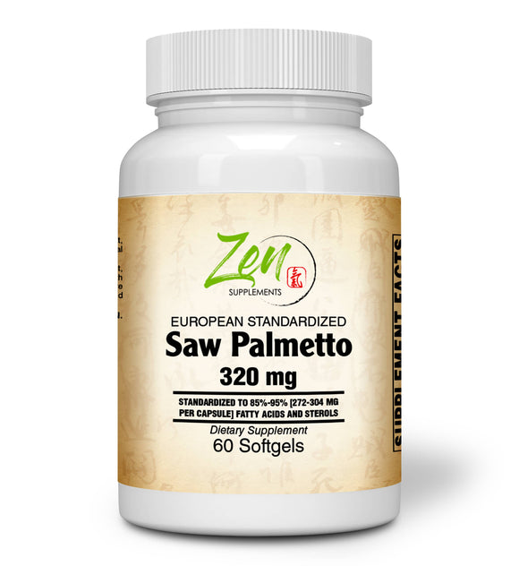 Zen Supplements - Saw Palmetto Berry Extract 320 Mg Supplement for Prostate Health & Urinary Tract Including Frequent Urination, Supports DHT Blocker and Hair Loss Prevention 60-Softgel