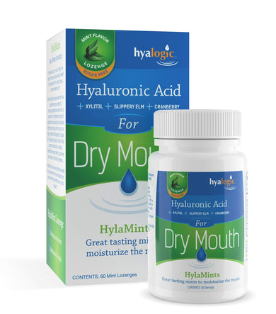 Hyalogic HyaMints Breath Mints for Dry Mouth- Sugar Free Mint Flavor- Natural Breath Freshener w/Hyaluronic Acid, Cranberry Extract, Xylitol, Slippery Elm, Orange Pectin (60 Count)