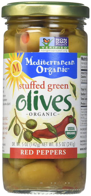 Mediterranean Organics Organic Pepper Stuffed Green Olives, 8.4 oz