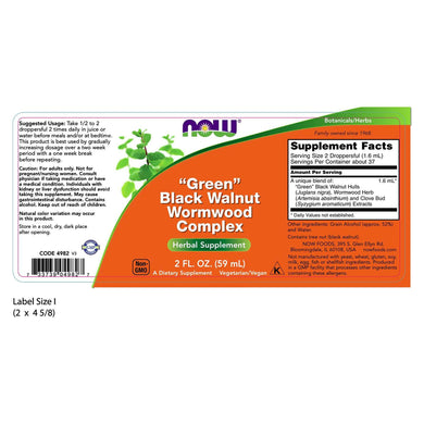 NOW Foods - Green Black Walnut Wormwood Complex (60mL) - 2 oz