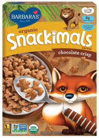 Barbara's Organic Snackimals Chocolate Crisp Cereal, Non-GMO, Whole Grains, 9 Oz Box