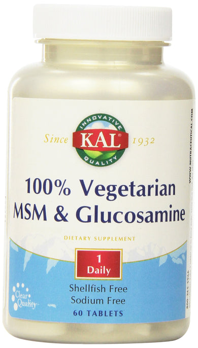 KAL 100% Vegetarian MSM and Glucosamine Tablet, 500 mg, 60 Count