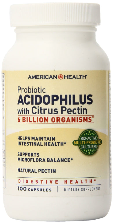 American Health Probiotic Acidophilus with Citrus Pectin - Promotes Intestinal Health, Supports Microflora Balance & Nutrient Absorption - Gluten-Free - 100 Capsules, 50 Total Servings