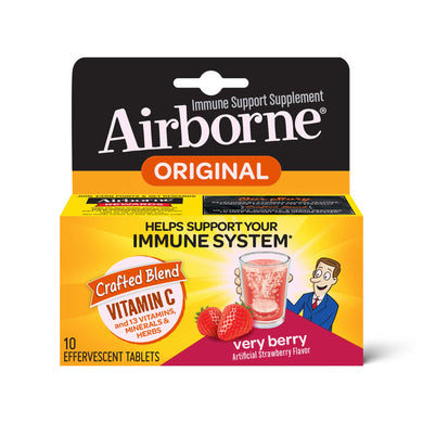 Airborne Very Berry Effervescent Tablets, 10 count - 1000mg of Vitamin C - Immune Support Supplement (Pack of 12)