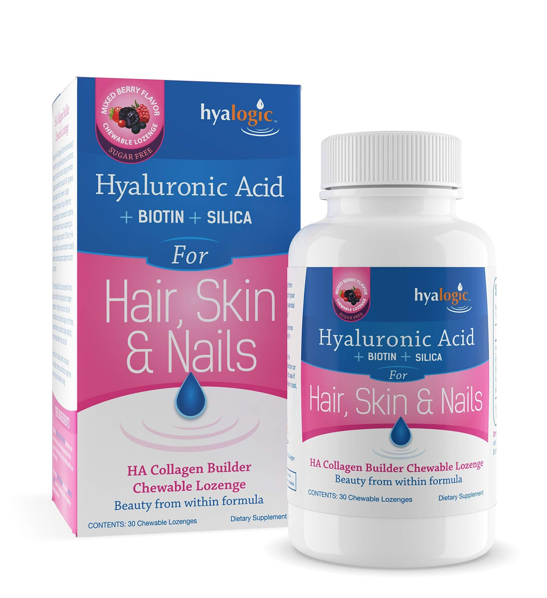 Hyaluronic Acid + Collagen Builder - Chewable Collagen Tablets for Healthy Skin, Hair, Nails - HA Collagen Booster: Vegan | Gluten Free | Mixed Berry Flavor - 30 count by Hyalogic