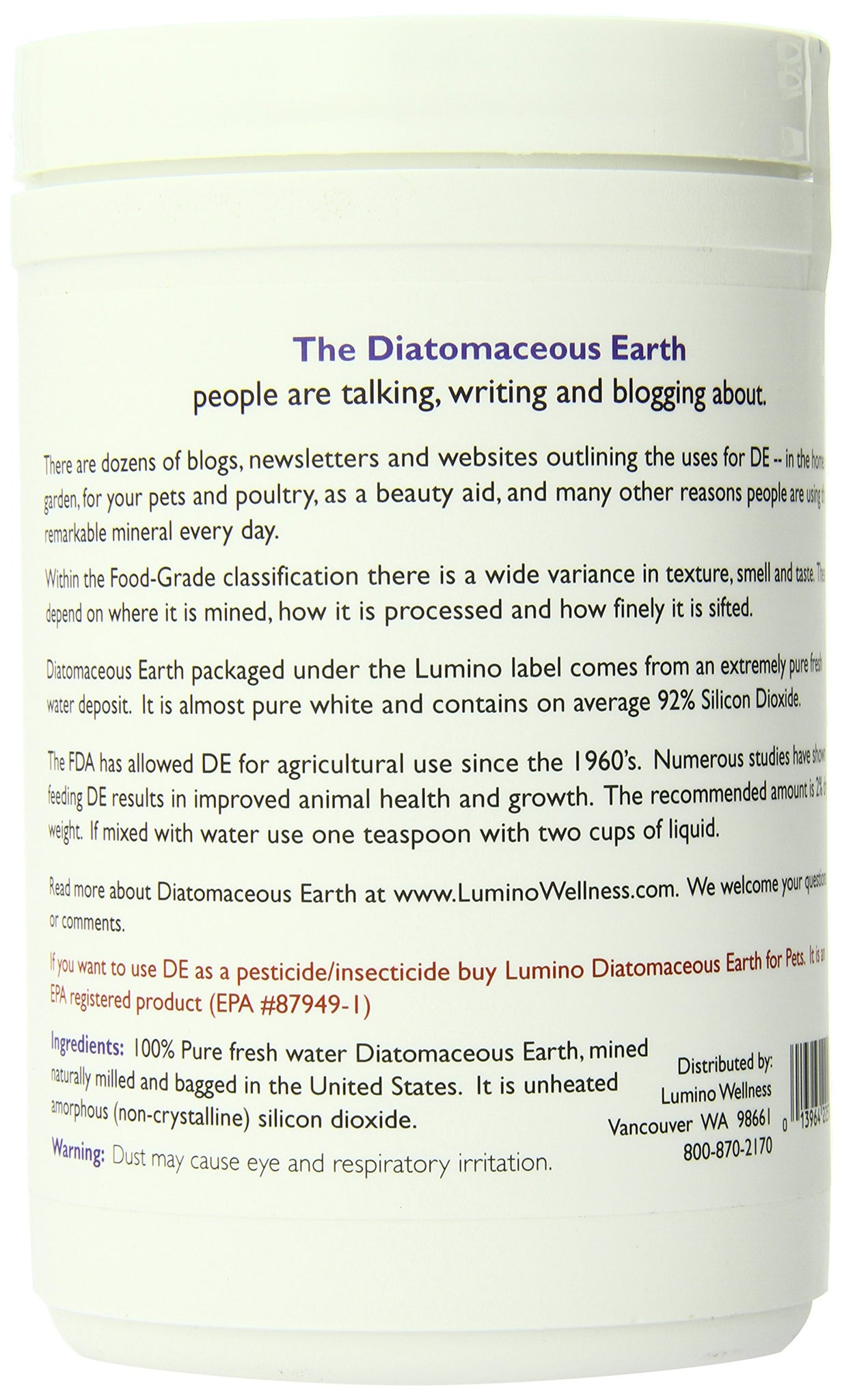 Lumino Home Diatomaceous Earth Fresh Water, Food Grade Pure, 9 Ounce
