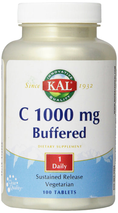 KAL Vitamin C Buffered Sustained Release Tablets, 1000 mg, 100 Count