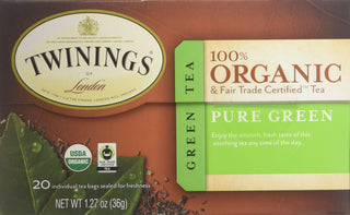 Twinings of London Organic and Fair Trade Certified Pure Green Tea Bags, 20 Count, [wellica]