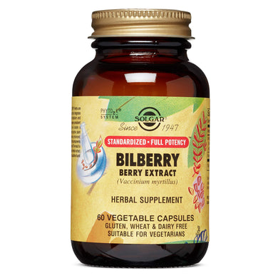 Solgar Standardized Full Potency Bilberry Berry Extract Vegetable Capsules, 60 Count