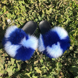 Blue Checkmate Slippers