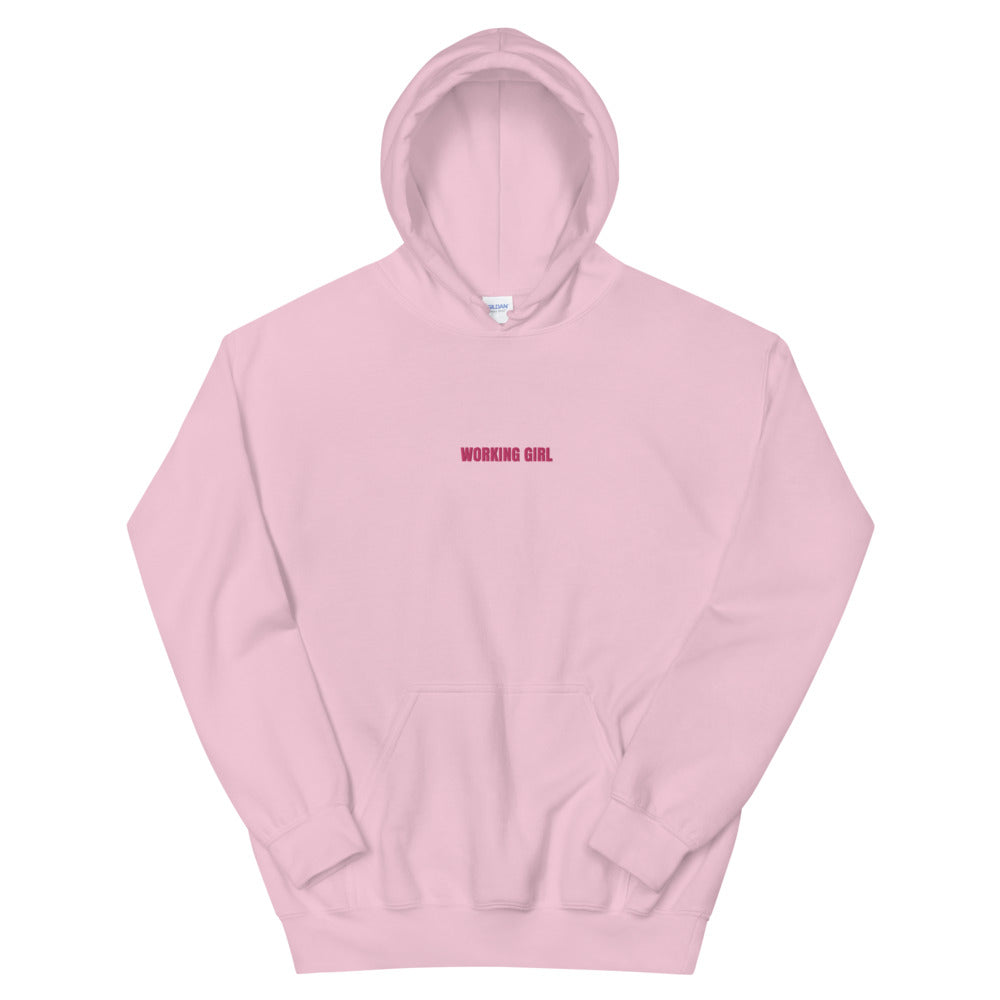 Pink Working Girl Embroidered Hoodie