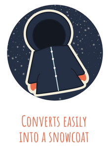 This icon shows how a SnowOtter snowsuit for kids converts easily into a snow coat.