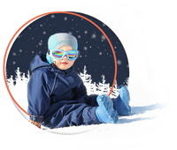 This is an image of a toddler in blue sunglasses and a SnowOtter snowsuit for kids.