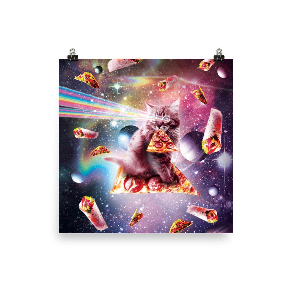 RandomGalaxy 12×12 Outer Space Pizza Cat - Rainbow Laser, Taco, Burrito Poster