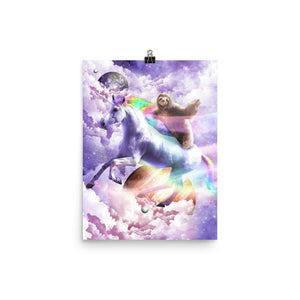 RandomGalaxy 12×16 Epic Space Sloth Riding On Unicorn Poster