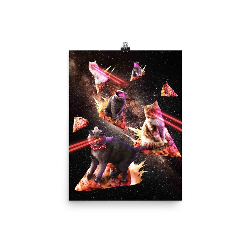 RandomGalaxy 12×16 Galaxy Laser Cat - Space Pizza Cats with Lazer Eyes Poster