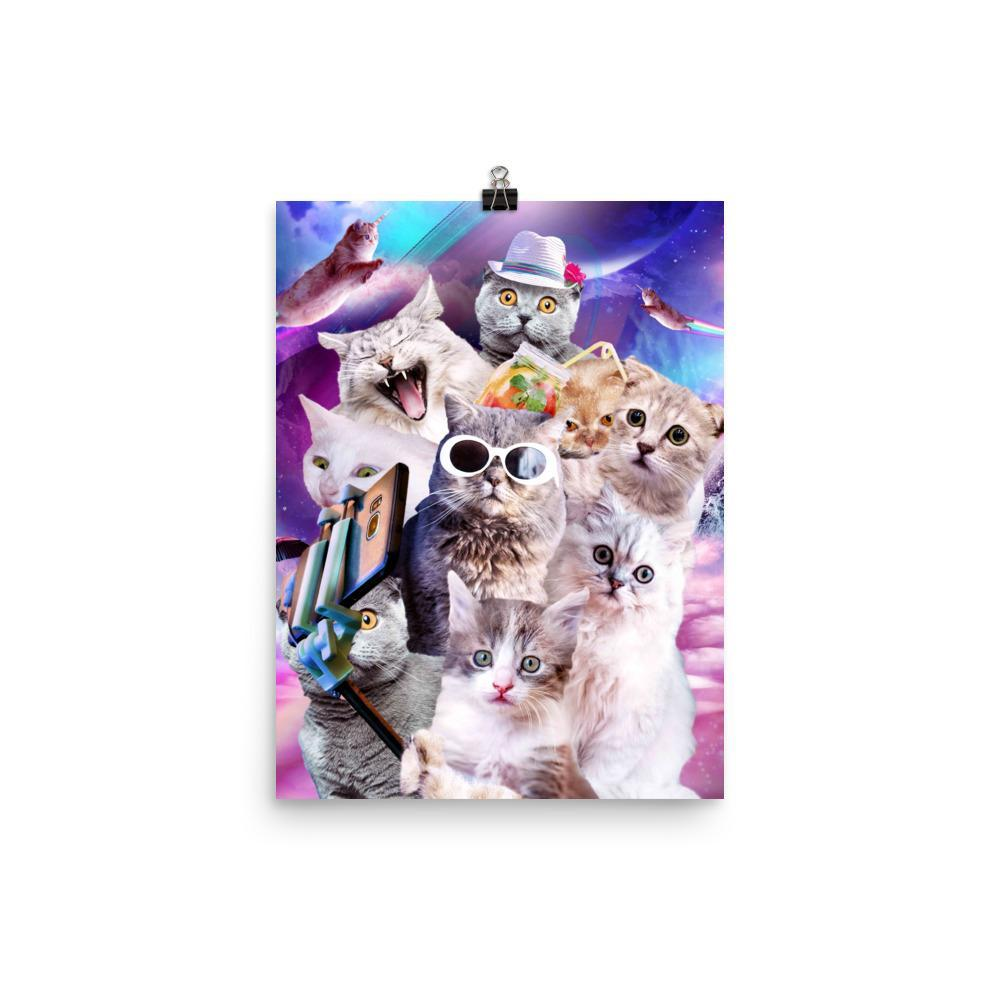 RandomGalaxy 12×16 Kitten Cat Selfie In Space With Unicorn Cat Poster