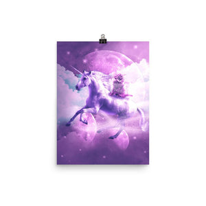 RandomGalaxy 12×16 Kitty Cat Riding On Flying Space Galaxy Unicorn Poster