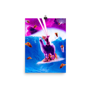 RandomGalaxy 12×16 Laser Eyes Space Cat Riding On Surfing Llama Unicorn Poster