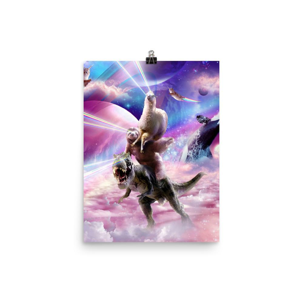 RandomGalaxy 12×16 Laser Eyes Space Llama On Sloth Dinosaur - Rainbow Poster
