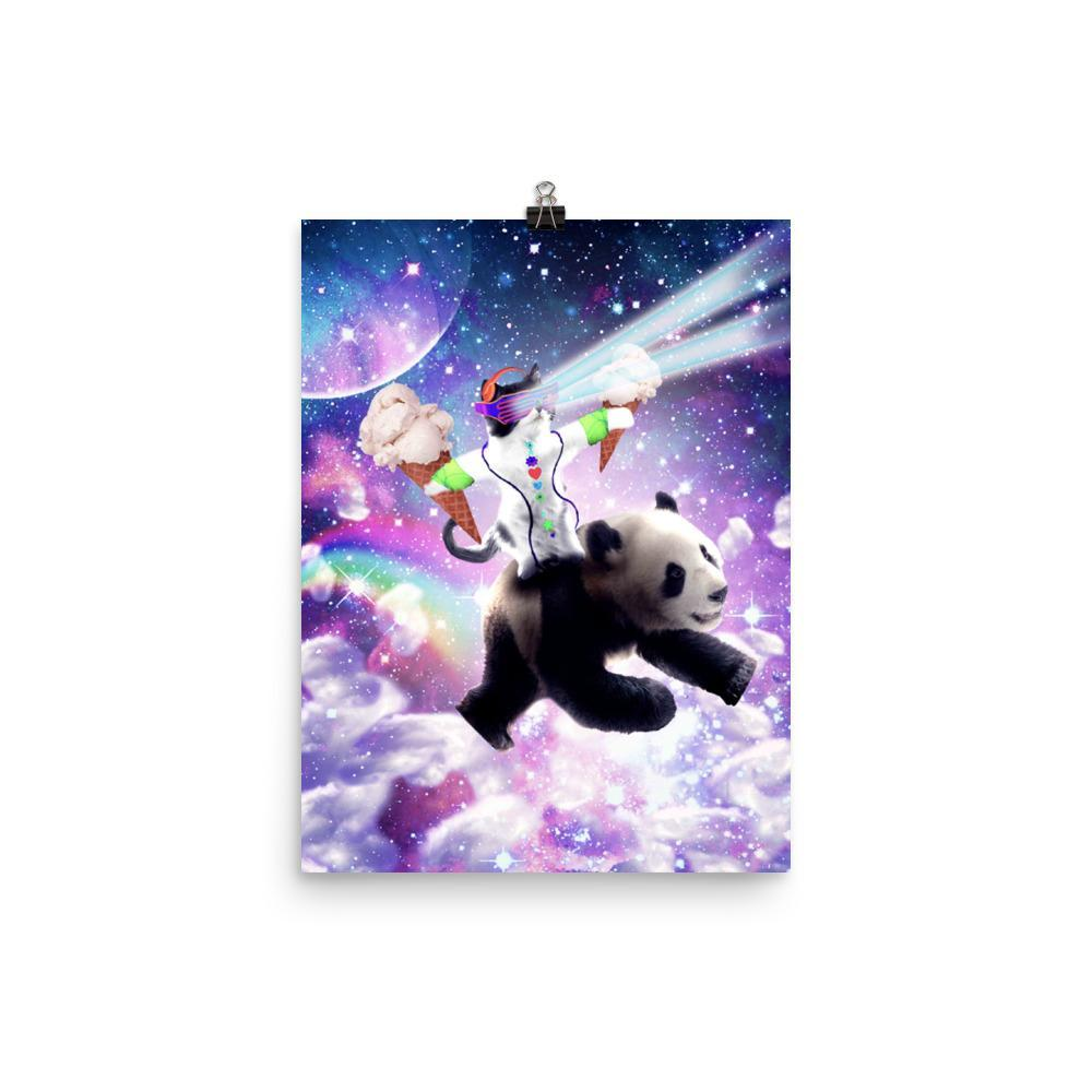 RandomGalaxy 12×16 Lazer Rave Space Cat Riding Panda With Ice Cream Poster