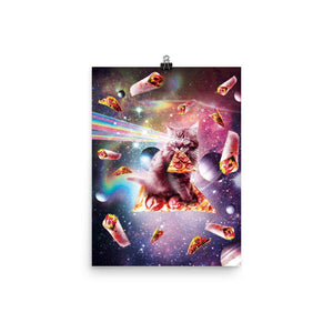 RandomGalaxy 12×16 Outer Space Pizza Cat - Rainbow Laser, Taco, Burrito Poster
