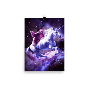 RandomGalaxy 12×16 Space Sloth Riding On Unicorn Poster