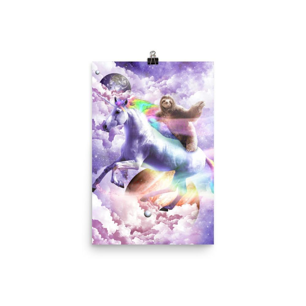 RandomGalaxy 12×18 Epic Space Sloth Riding On Unicorn Poster