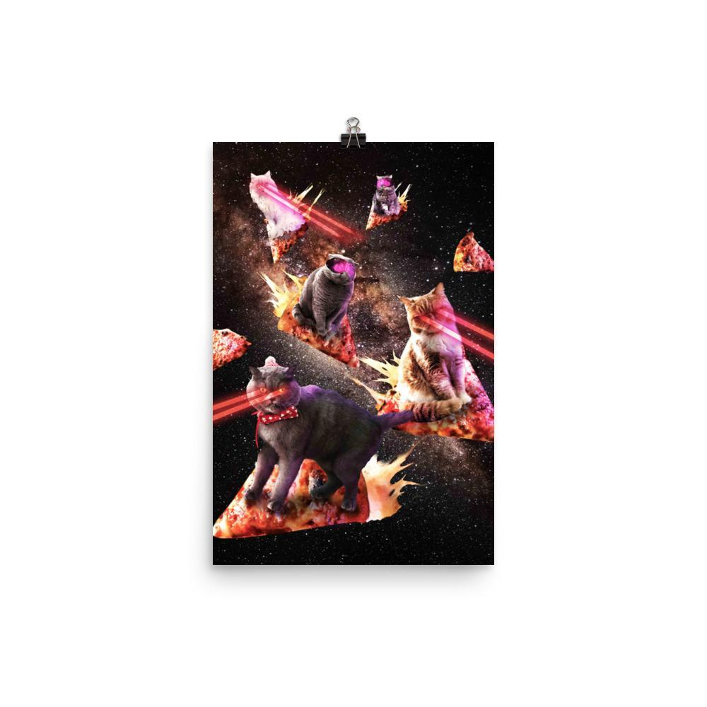 RandomGalaxy 12×18 Galaxy Laser Cat - Space Pizza Cats with Lazer Eyes Poster