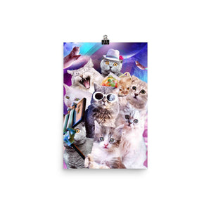 RandomGalaxy 12×18 Kitten Cat Selfie In Space With Unicorn Cat Poster