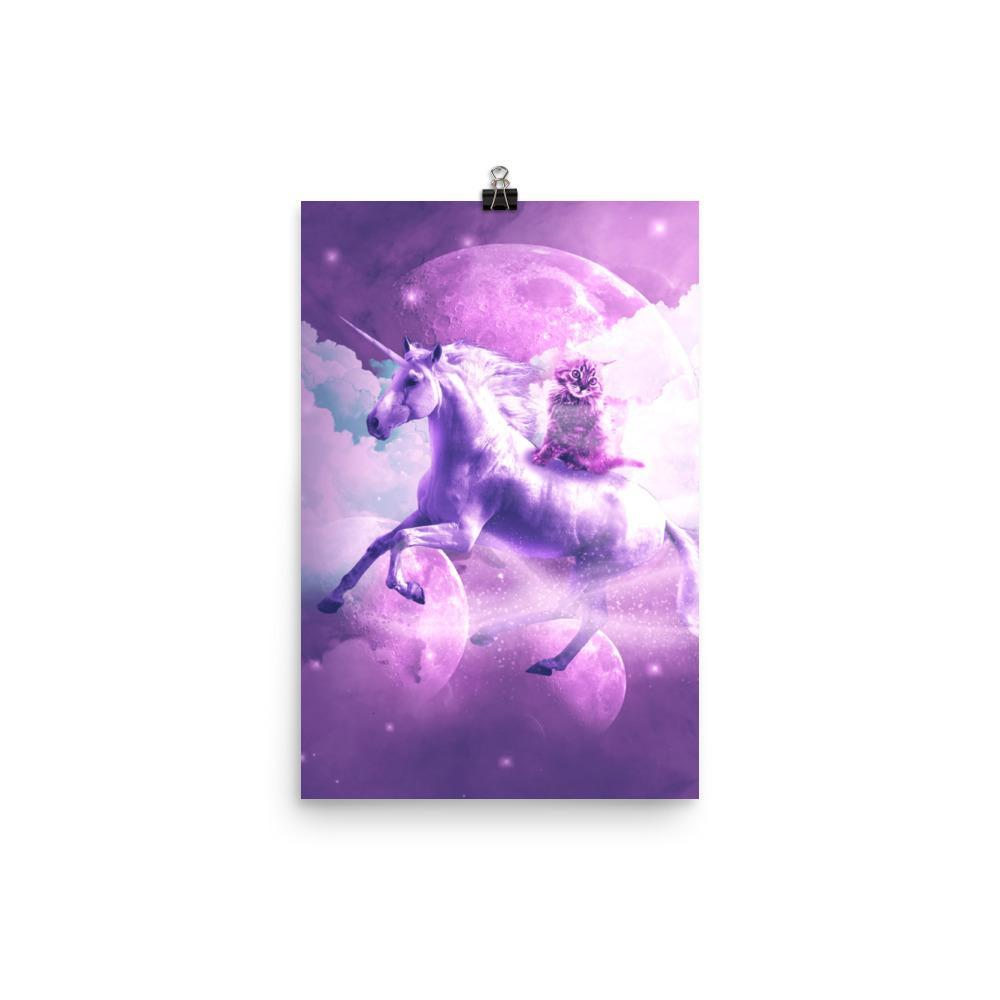 RandomGalaxy 12×18 Kitty Cat Riding On Flying Space Galaxy Unicorn Poster