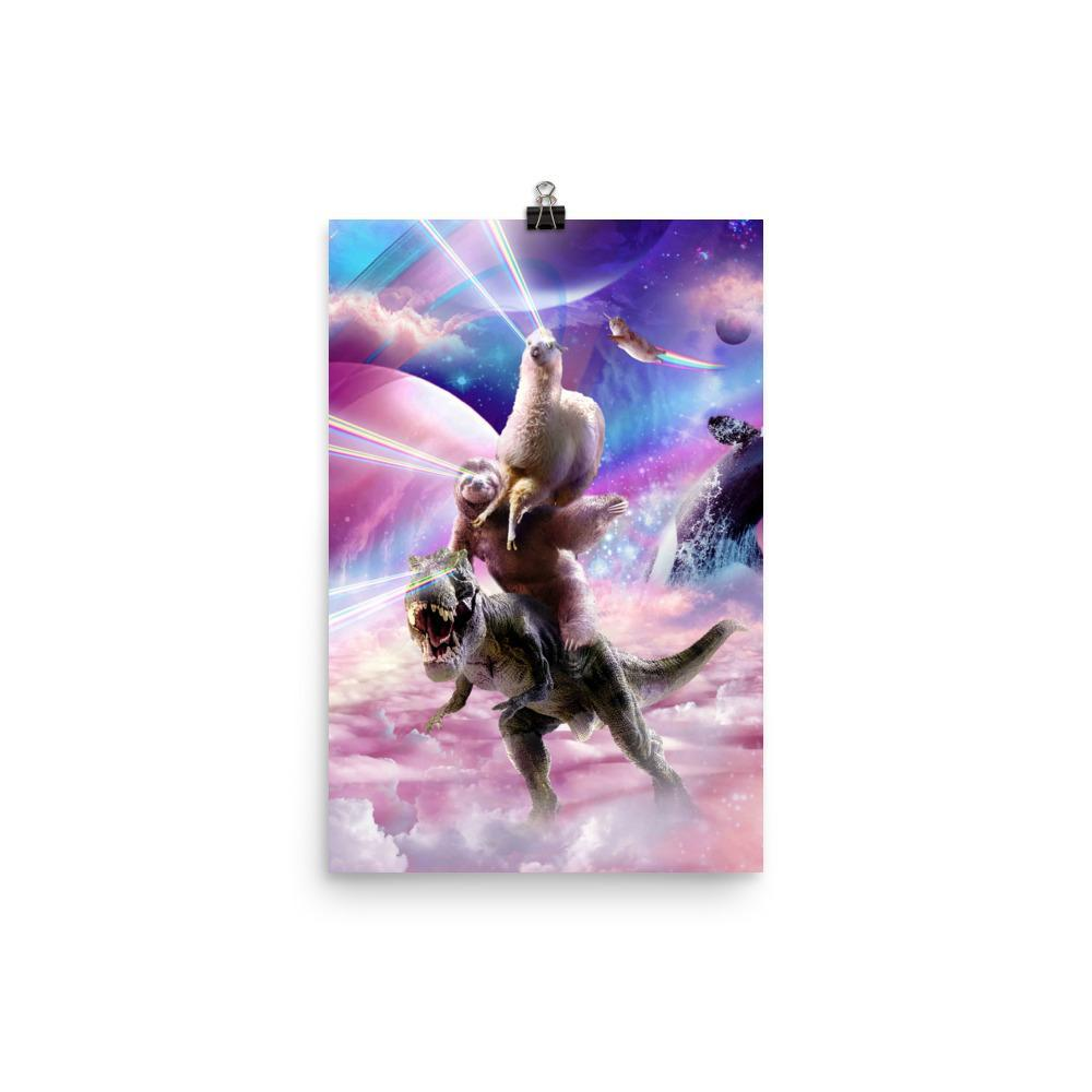 RandomGalaxy 12×18 Laser Eyes Space Llama On Sloth Dinosaur - Rainbow Poster